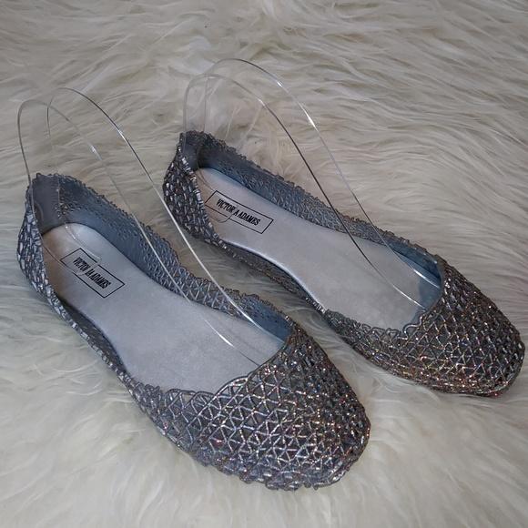f5523482a8ad Women Glitter Sparkle Jelly Ballet Flat Shoes Grey.  M 5b430529c9bf50daff709181
